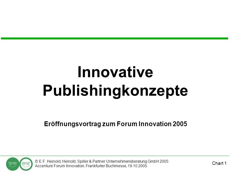 Chart 1 © E.F. Heinold, Heinold, Spiller & Partner Unternehmensberatung GmbH 2005 Accenture Forum Innovation, Frankfurter Buchmesse, 19.10.2005 Innova