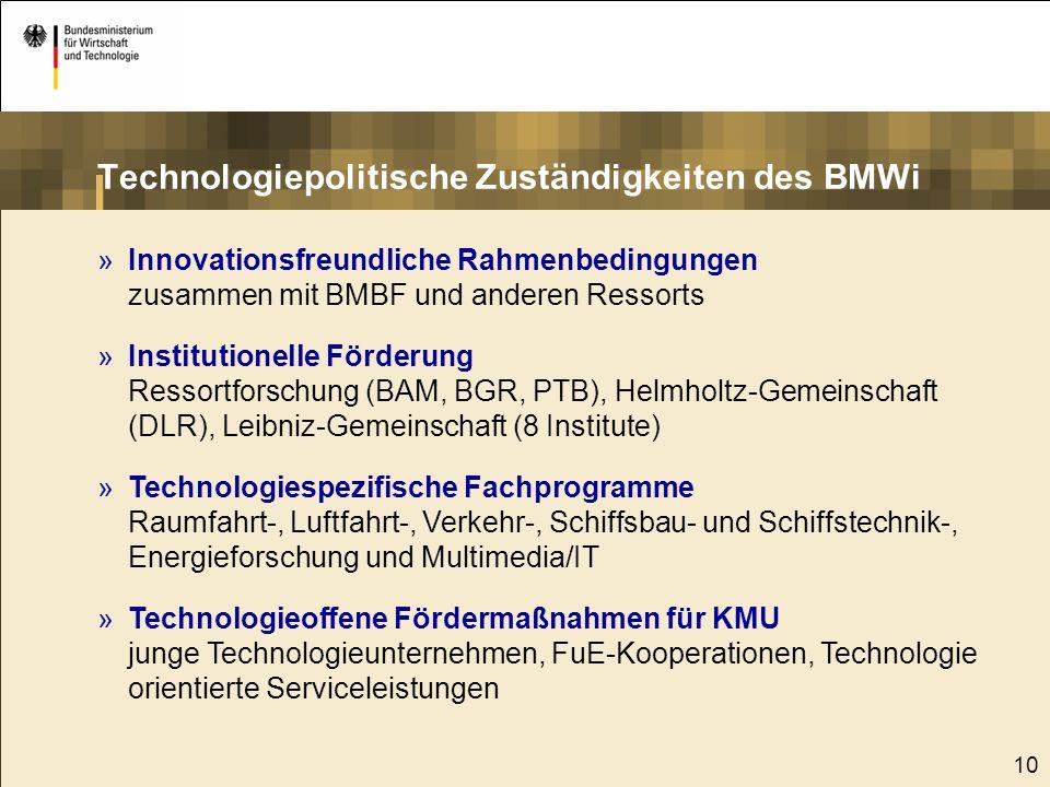 10 »Innovationsfreundliche Rahmenbedingungen zusammen mit BMBF und anderen Ressorts »Institutionelle Förderung Ressortforschung (BAM, BGR, PTB), Helmh