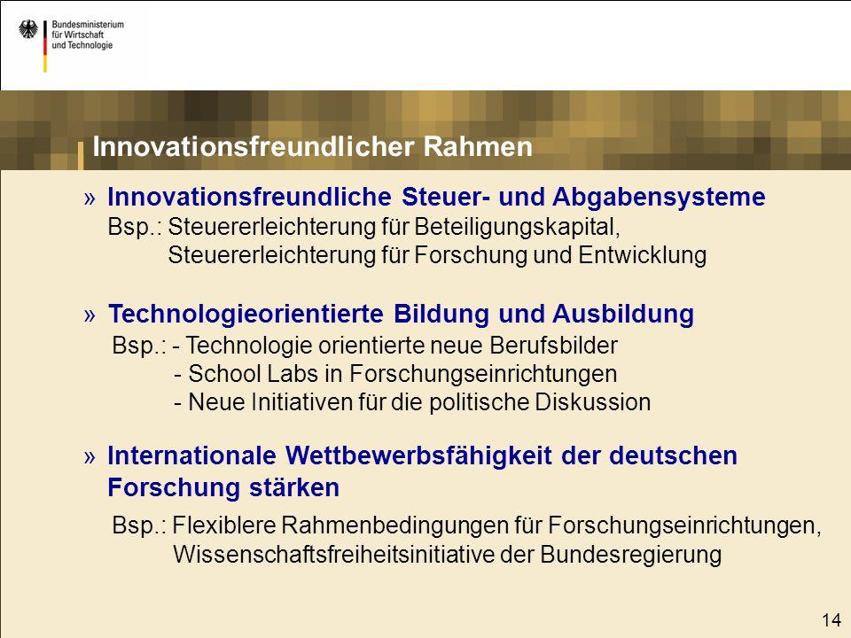 14 »Innovationsfreundliche Steuer- und Abgabensysteme Bsp.: Steuererleichterung für Beteiligungskapital, Steuererleichterung für Forschung und Entwick