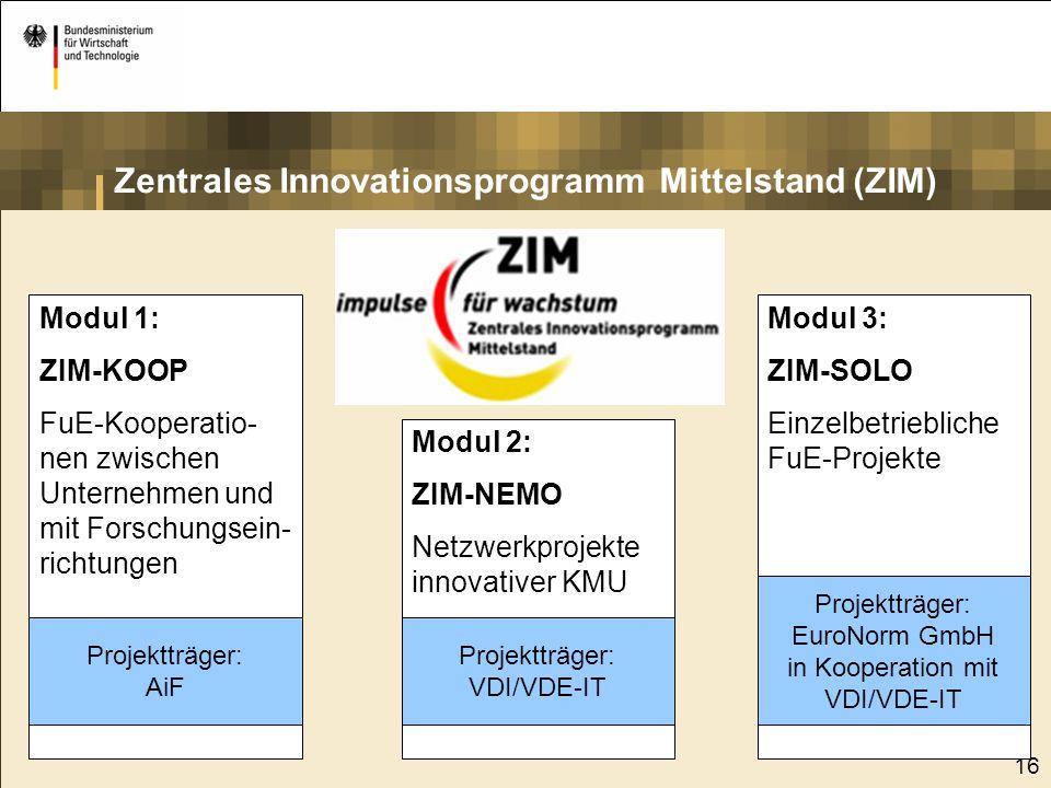 16 Modul 1: ZIM-KOOP FuE-Kooperatio- nen zwischen Unternehmen und mit Forschungsein- richtungen Modul 2: ZIM-NEMO Netzwerkprojekte innovativer KMU Mod