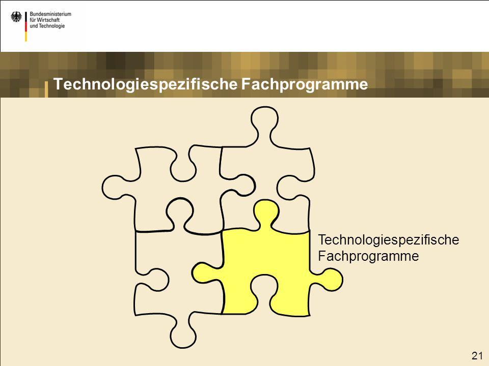 21 Technologiespezifische Fachprogramme Technologiespezifische Fachprogramme