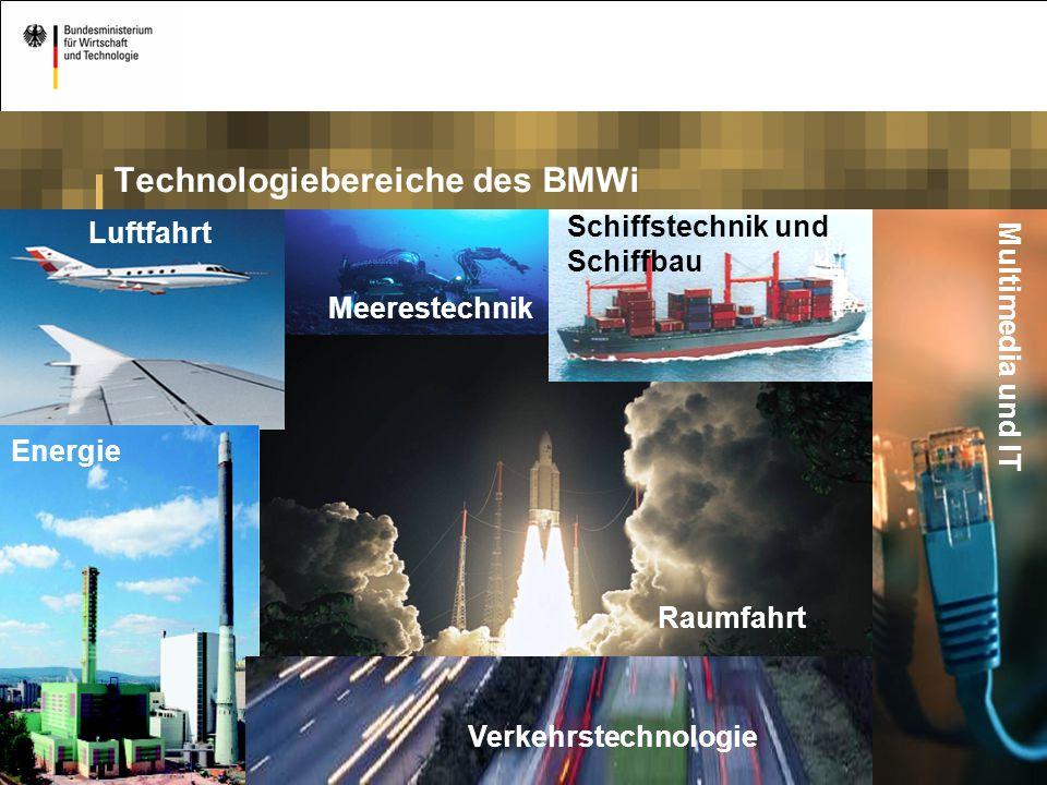 22 Technologiebereiche des BMWi Energie Raumfahrt Luftfahrt Multimedia und IT Schiffstechnik und Schiffbau Verkehrstechnologie Meerestechnik