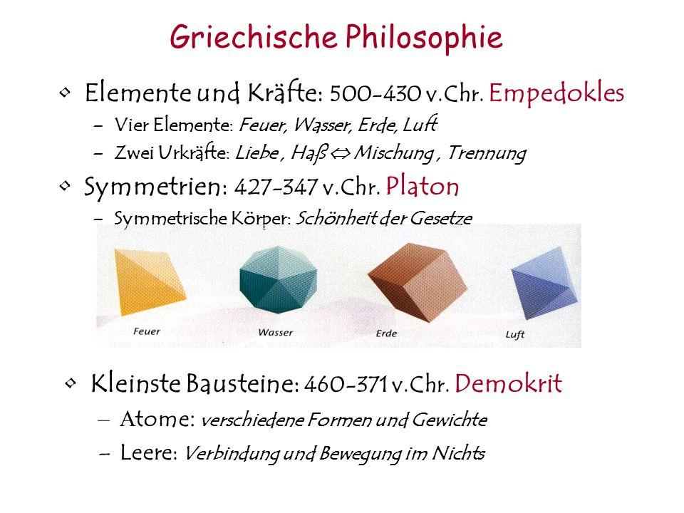 Griechische Philosophie Elemente und Kräfte: 500-430 v.Chr.