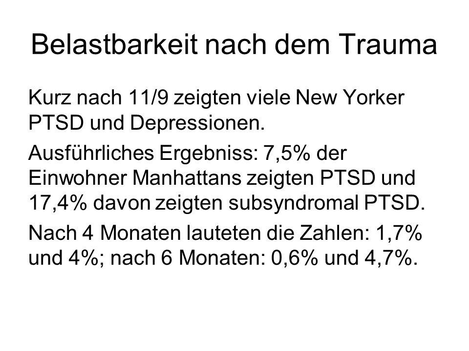 Belastbarkeit nach dem Trauma Kurz nach 11/9 zeigten viele New Yorker PTSD und Depressionen. Ausführliches Ergebniss: 7,5% der Einwohner Manhattans ze