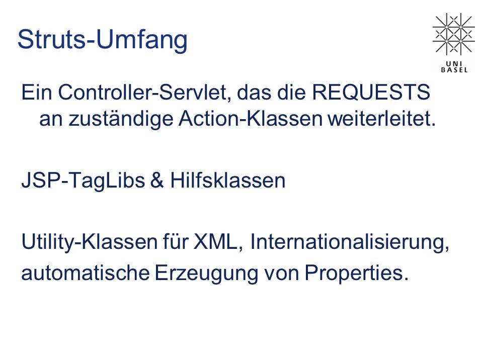 Struts-Umfang Ein Controller-Servlet, das die REQUESTS an zuständige Action-Klassen weiterleitet.
