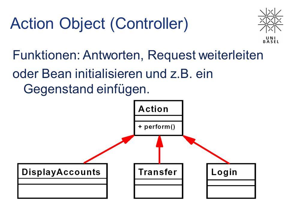 Action Object (Controller) Funktionen: Antworten, Request weiterleiten oder Bean initialisieren und z.B.