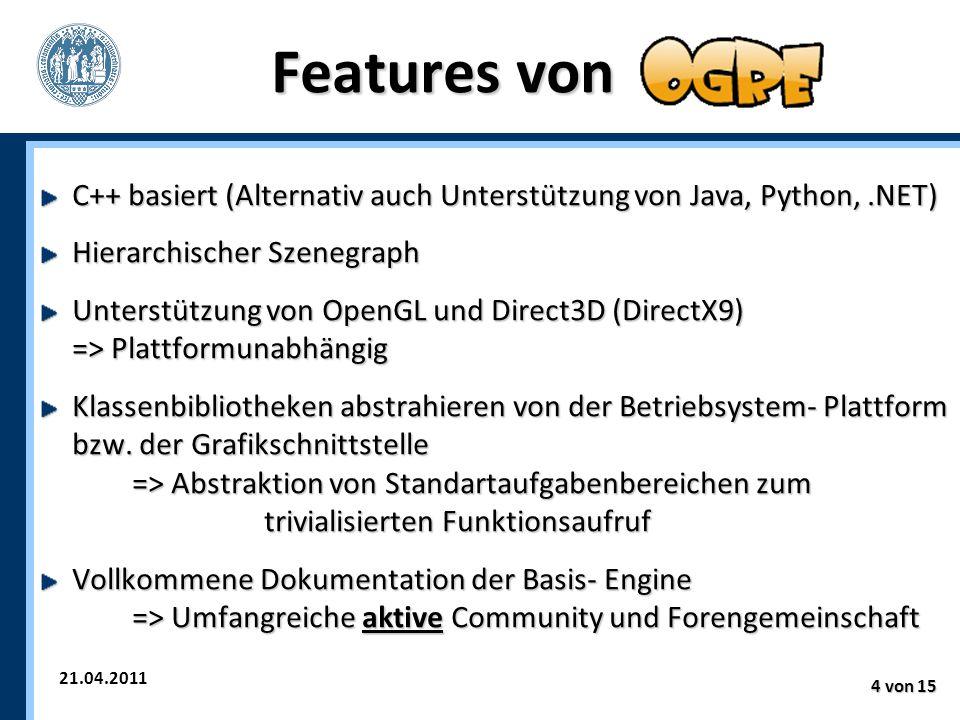 21.04.2011 4 von 15 Features von C++ basiert (Alternativ auch Unterstützung von Java, Python,.NET) Hierarchischer Szenegraph Unterstützung von OpenGL und Direct3D (DirectX9) => Plattformunabhängig Klassenbibliotheken abstrahieren von der Betriebsystem- Plattform bzw.
