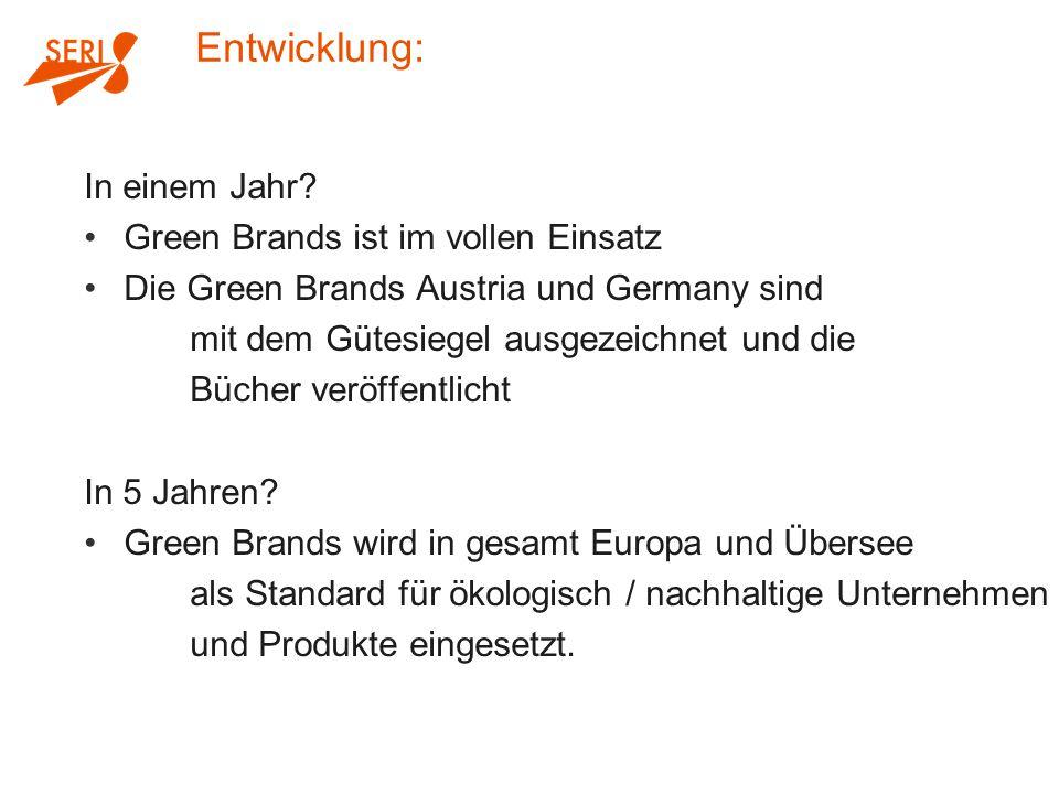 In einem Jahr? Green Brands ist im vollen Einsatz Die Green Brands Austria und Germany sind mit dem Gütesiegel ausgezeichnet und die Bücher veröffentl