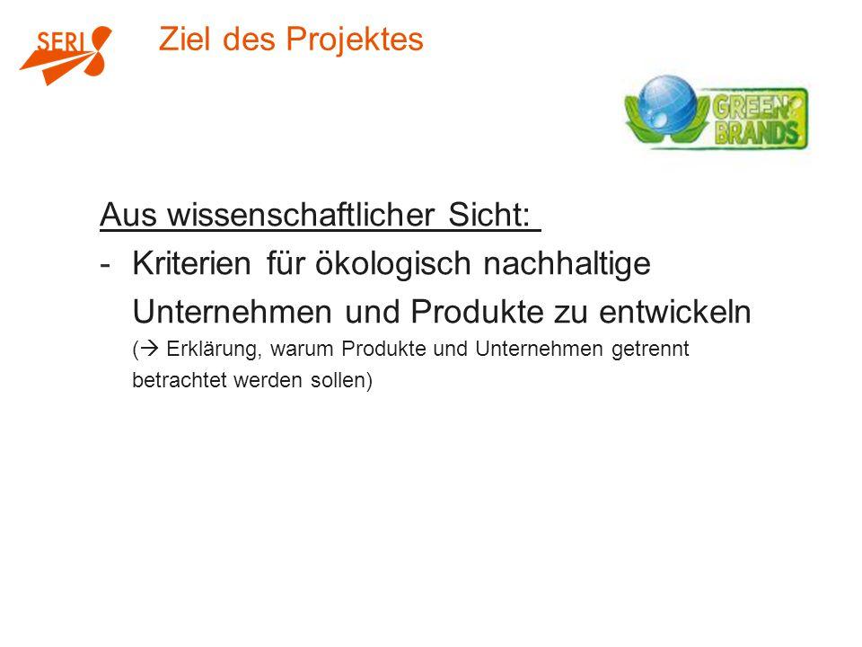 Ziel des Projektes Aus wissenschaftlicher Sicht: -Kriterien für ökologisch nachhaltige Unternehmen und Produkte zu entwickeln (  Erklärung, warum Produkte und Unternehmen getrennt betrachtet werden sollen)