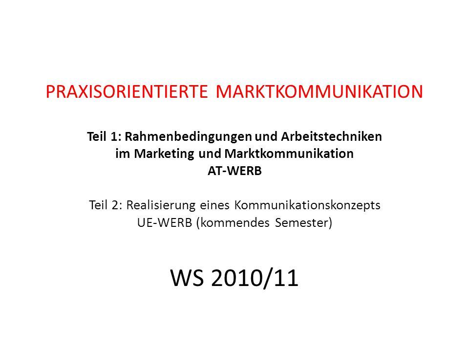 PRAXISORIENTIERTE MARKTKOMMUNIKATION Teil 1: Rahmenbedingungen und Arbeitstechniken im Marketing und Marktkommunikation AT-WERB Teil 2: Realisierung e