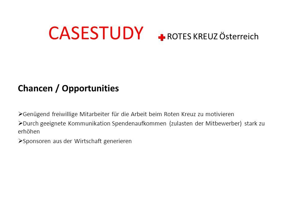Chancen / Opportunities  Genügend freiwillige Mitarbeiter für die Arbeit beim Roten Kreuz zu motivieren  Durch geeignete Kommunikation Spendenaufkom