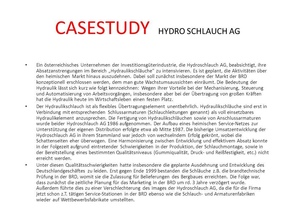 CASESTUDY HYDRO SCHLAUCH AG Ein österreichisches Unternehmen der Investitionsgüterindustrie, die Hydroschlauch AG, beabsichtigt, ihre Absatzanstrengun