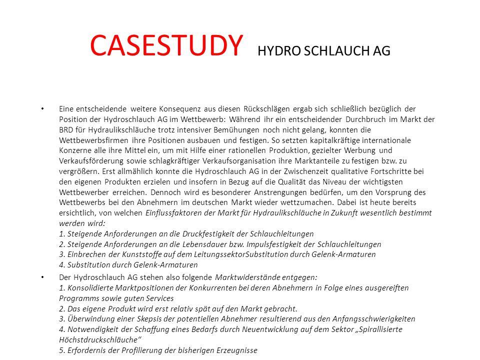 CASESTUDY HYDRO SCHLAUCH AG Eine entscheidende weitere Konsequenz aus diesen Rückschlägen ergab sich schließlich bezüglich der Position der Hydroschla