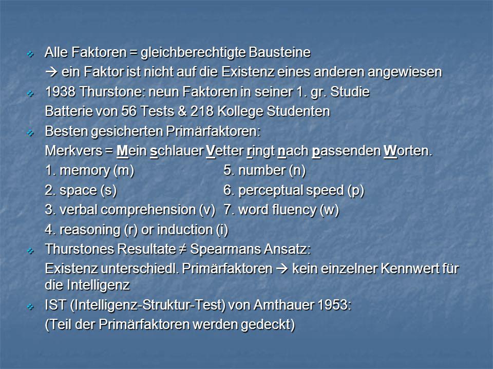  Alle Faktoren = gleichberechtigte Bausteine  ein Faktor ist nicht auf die Existenz eines anderen angewiesen  1938 Thurstone: neun Faktoren in seiner 1.