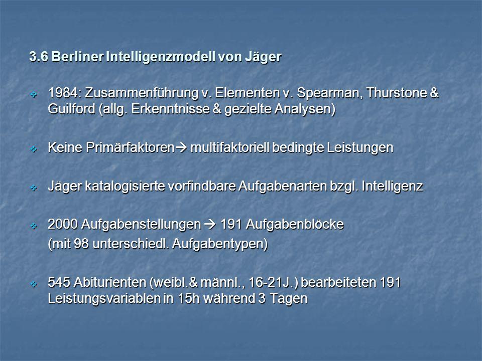 3.6 Berliner Intelligenzmodell von Jäger  1984: Zusammenführung v.