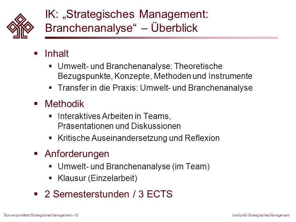 """Institut für Strategisches Management Schwerpunktfach Strategisches Management – 10 IK: """"Strategisches Management: Branchenanalyse"""" – Überblick  Inha"""
