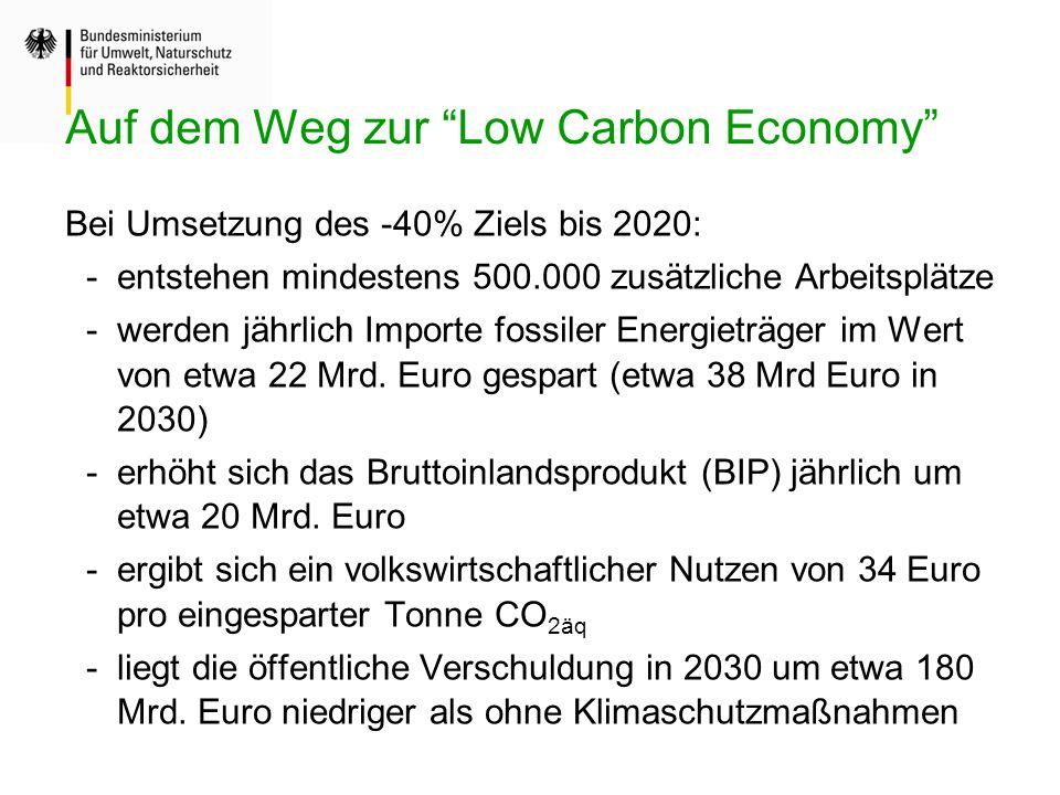 Bei Umsetzung des -40% Ziels bis 2020: -entstehen mindestens 500.000 zusätzliche Arbeitsplätze -werden jährlich Importe fossiler Energieträger im Wert