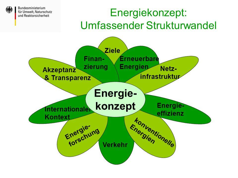 Ziele Erneuerbare Energien konventionelle Energien Netz- infrastruktur Verkehr Energie- forschung Internationaler Kontext Akzeptanz & Transparenz Fina