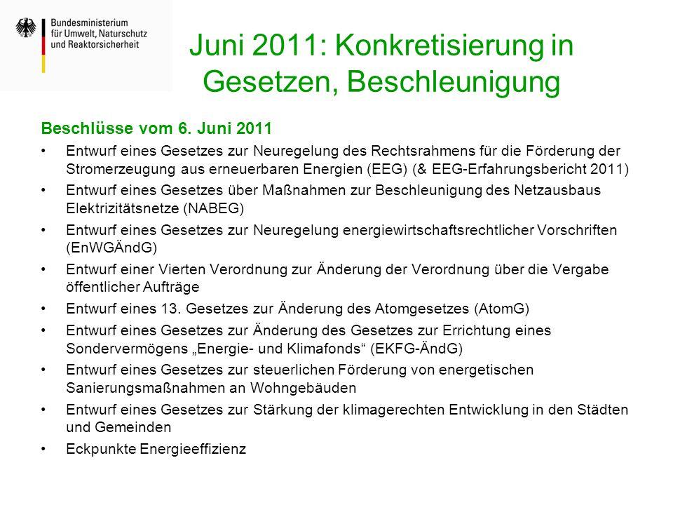 Juni 2011: Konkretisierung in Gesetzen, Beschleunigung Beschlüsse vom 6. Juni 2011 Entwurf eines Gesetzes zur Neuregelung des Rechtsrahmens für die Fö