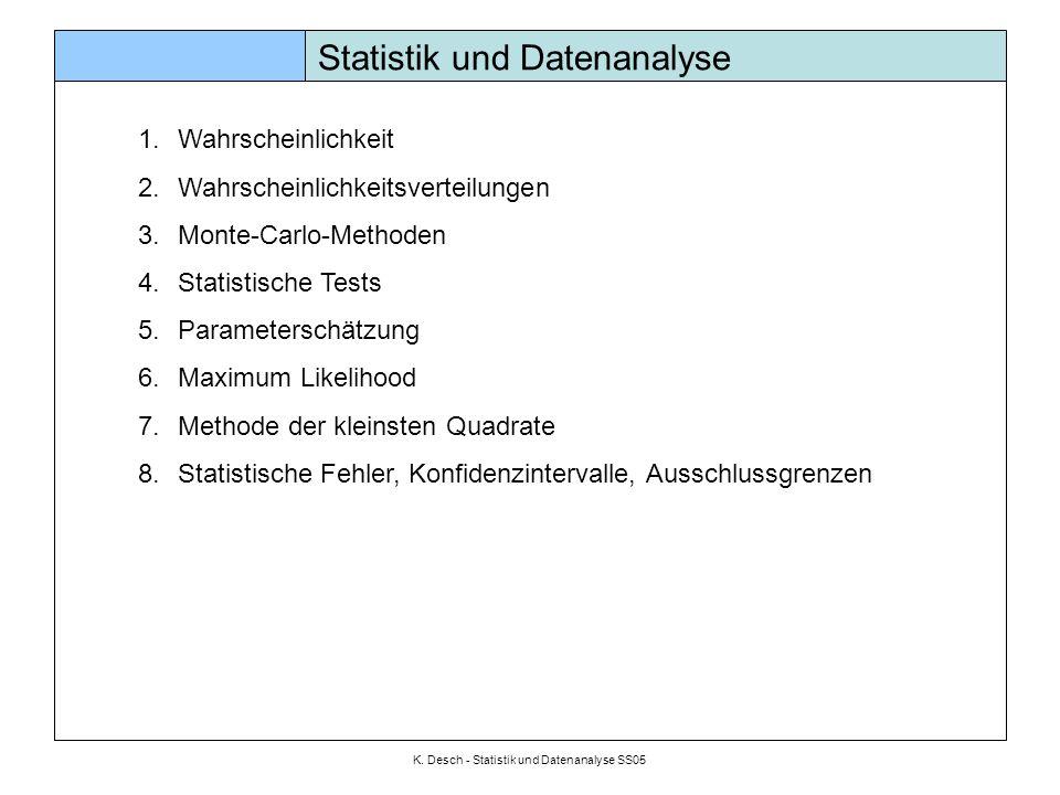 K. Desch - Statistik und Datenanalyse SS05 Wahrscheinlichkeit