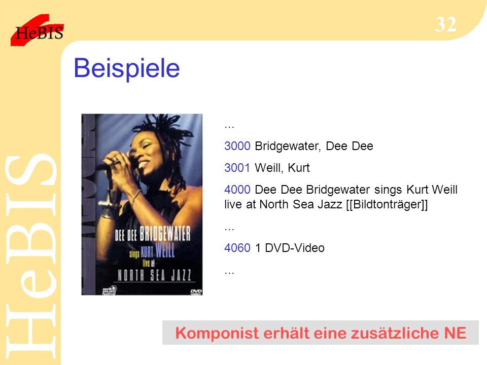 H e B I SH e B I S 32 Beispiele... 3000 Bridgewater, Dee Dee 3001 Weill, Kurt 4000 Dee Dee Bridgewater sings Kurt Weill live at North Sea Jazz [[Bildt