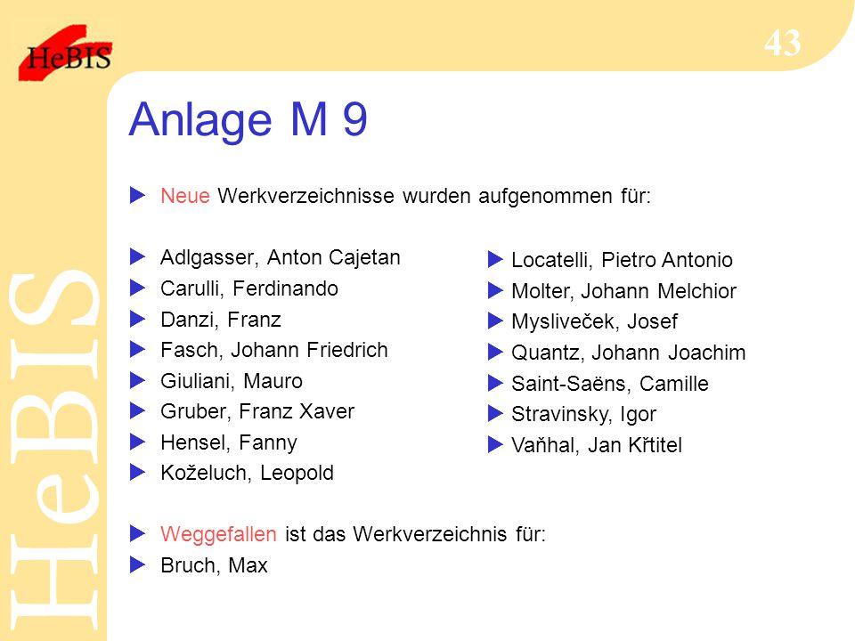 H e B I SH e B I S 43 Anlage M 9  Neue Werkverzeichnisse wurden aufgenommen für:  Adlgasser, Anton Cajetan  Carulli, Ferdinando  Danzi, Franz  Fa