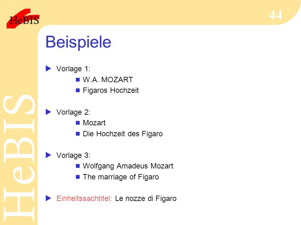 H e B I SH e B I S 44 Beispiele  Vorlage 1:  W.A. MOZART  Figaros Hochzeit  Vorlage 2:  Mozart  Die Hochzeit des Figaro  Vorlage 3:  Wolfgang