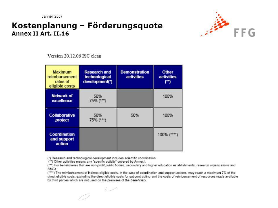 Jänner 2007 Kostenplanung – Förderungsquote Annex II Art. II.16