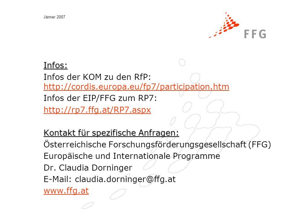 Jänner 2007 Infos: Infos der KOM zu den RfP: http://cordis.europa.eu/fp7/participation.htm http://cordis.europa.eu/fp7/participation.htm Infos der EIP/FFG zum RP7: http://rp7.ffg.at/RP7.aspx Kontakt für spezifische Anfragen: Österreichische Forschungsförderungsgesellschaft (FFG) Europäische und Internationale Programme Dr.