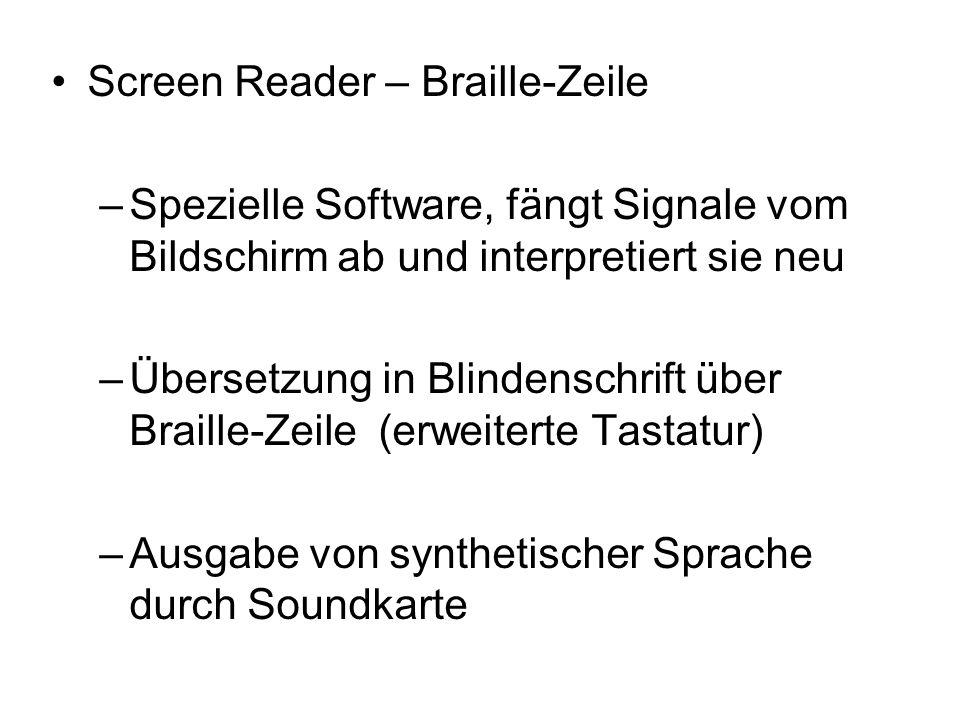 Screen Reader – Braille-Zeile –Spezielle Software, fängt Signale vom Bildschirm ab und interpretiert sie neu –Übersetzung in Blindenschrift über Braille-Zeile (erweiterte Tastatur) –Ausgabe von synthetischer Sprache durch Soundkarte