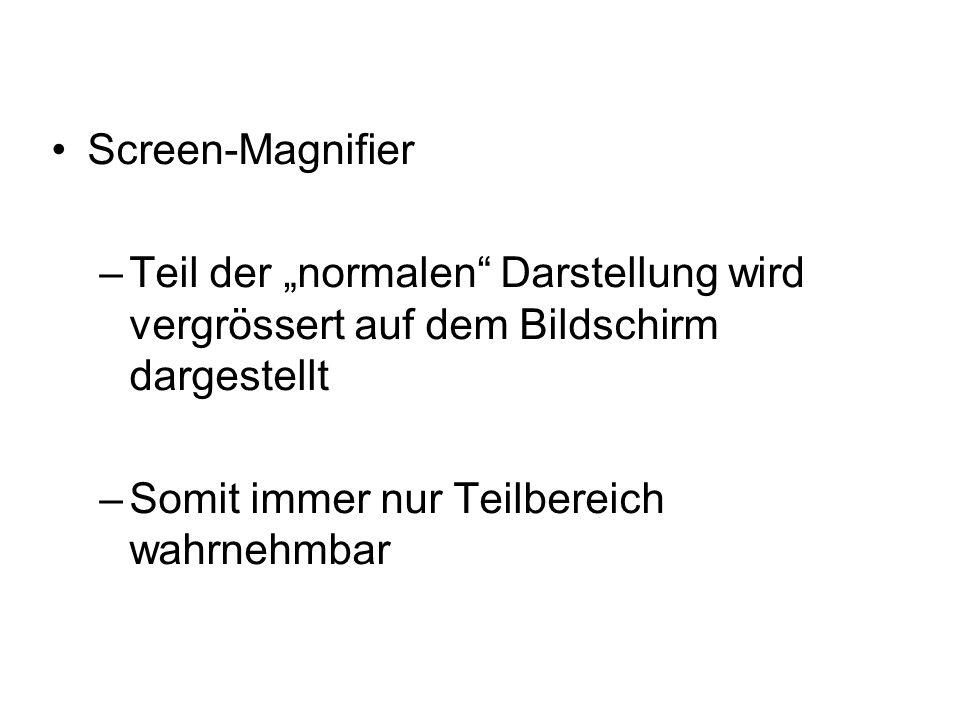 """Screen-Magnifier –Teil der """"normalen Darstellung wird vergrössert auf dem Bildschirm dargestellt –Somit immer nur Teilbereich wahrnehmbar"""