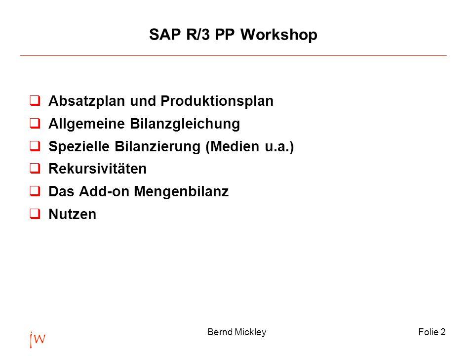 jw Bernd MickleyFolie 3 Absatz- und Produktionsplan qIntegration der Planung im SAP qSzenario einer individuellen Absatz- und Produktionsplanung qLösungskonzept