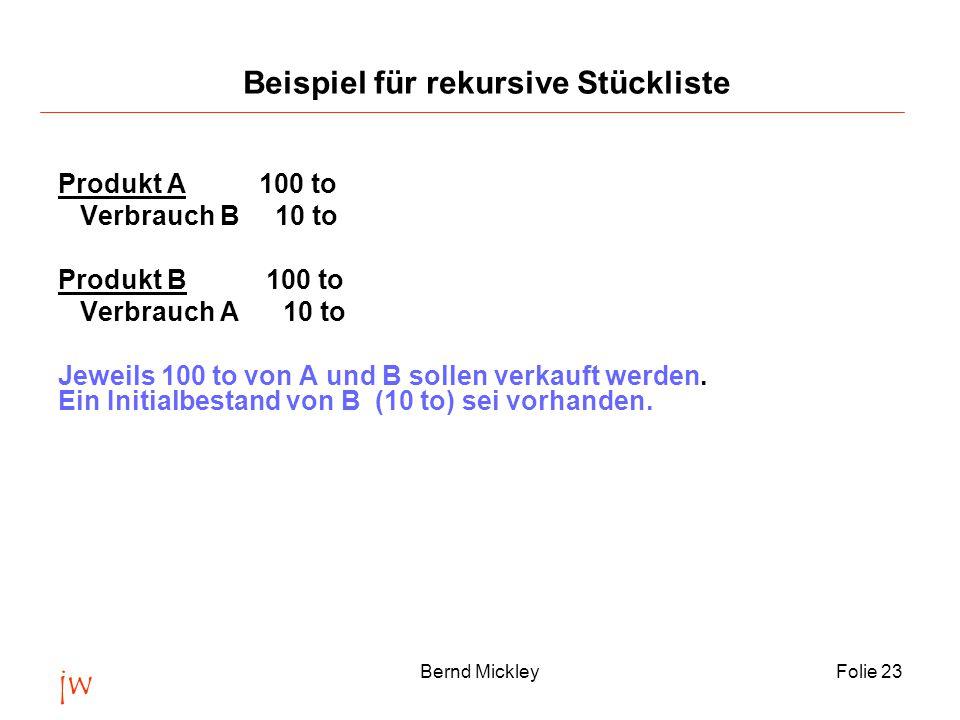 jw Bernd MickleyFolie 23 Produkt A 100 to Verbrauch B 10 to Produkt B 100 to Verbrauch A 10 to Jeweils 100 to von A und B sollen verkauft werden.
