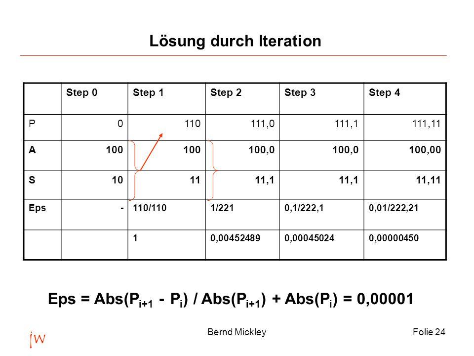 jw Bernd MickleyFolie 24 Step 0Step 1Step 2Step 3Step 4 P0110111,0111,1111,11 A100 100,0 100,00 S 10 1111,1 11,11 Eps-110/1101/2210,1/222,10,01/222,21 10,004524890,000450240,00000450 Eps = Abs(P i+1 - P i ) / Abs(P i+1 ) + Abs(P i ) = 0,00001 Lösung durch Iteration