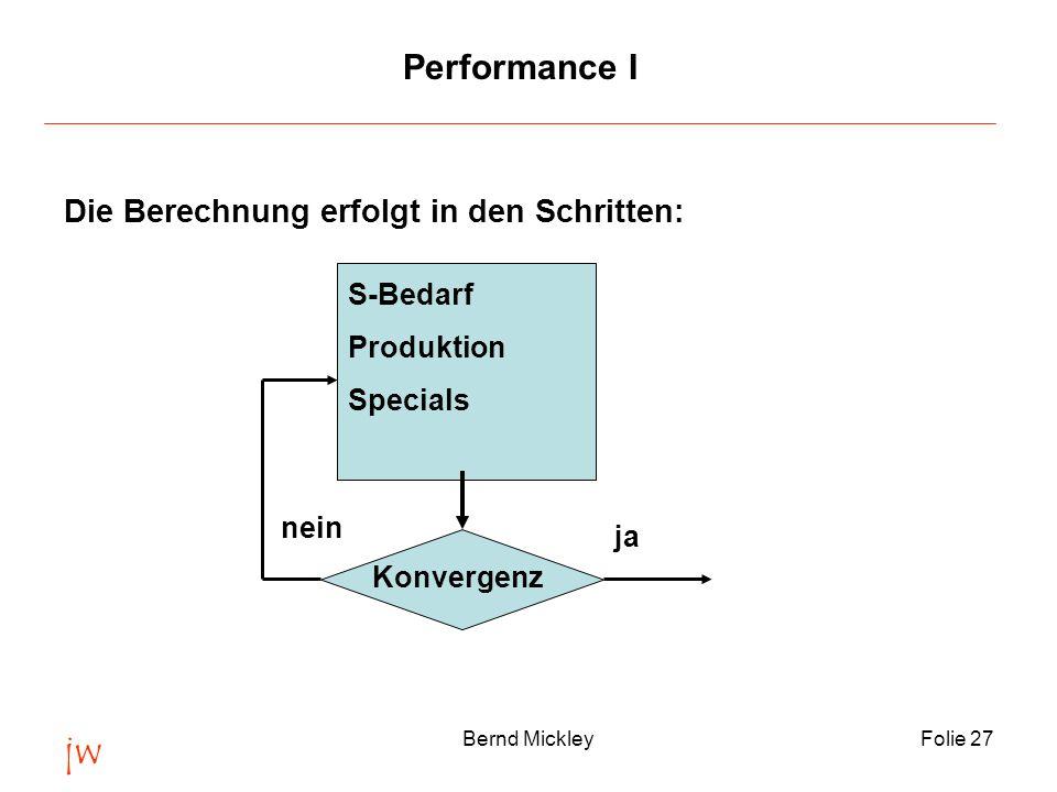 jw Bernd MickleyFolie 27 Performance I Die Berechnung erfolgt in den Schritten: S-Bedarf Produktion Specials Konvergenz nein ja