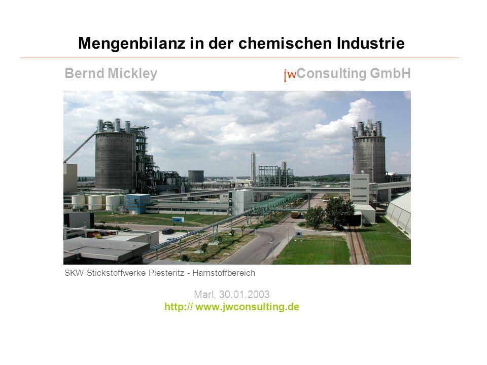 SKW Stickstoffwerke Piesteritz - Harnstoffbereich Marl, 30.01.2003 http:// www.jwconsulting.de Mengenbilanz in der chemischen Industrie Bernd Mickley jwConsulting GmbH
