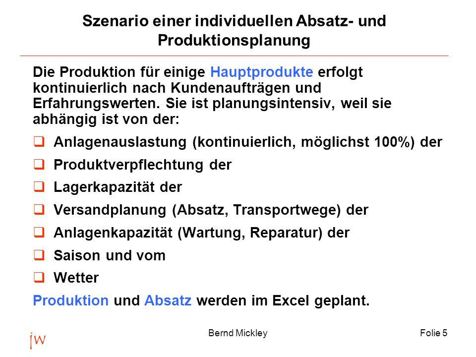 jw Bernd MickleyFolie 5 Szenario einer individuellen Absatz- und Produktionsplanung Die Produktion für einige Hauptprodukte erfolgt kontinuierlich nach Kundenaufträgen und Erfahrungswerten.