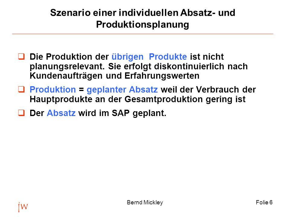 jw Bernd MickleyFolie 6 Szenario einer individuellen Absatz- und Produktionsplanung  Die Produktion der übrigen Produkte ist nicht planungsrelevant.