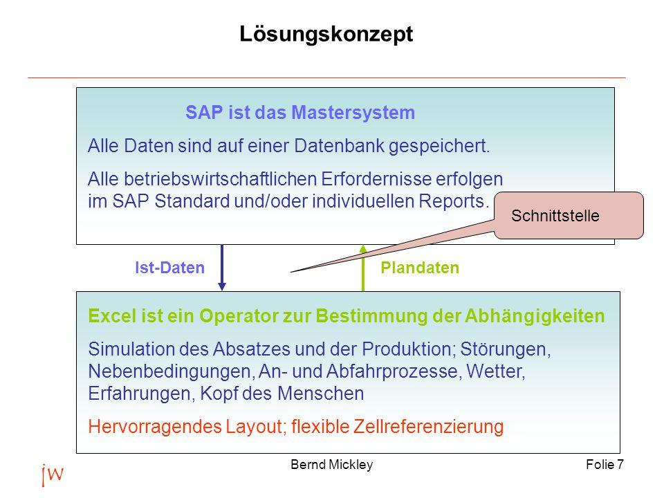 jw Bernd MickleyFolie 7 Lösungskonzept SAP ist das Mastersystem Alle Daten sind auf einer Datenbank gespeichert.