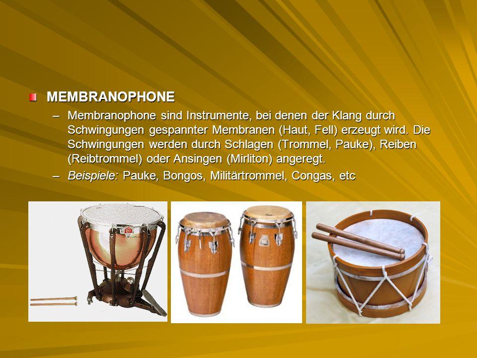 MEMBRANOPHONE –Membranophone sind Instrumente, bei denen der Klang durch Schwingungen gespannter Membranen (Haut, Fell) erzeugt wird. Die Schwingungen