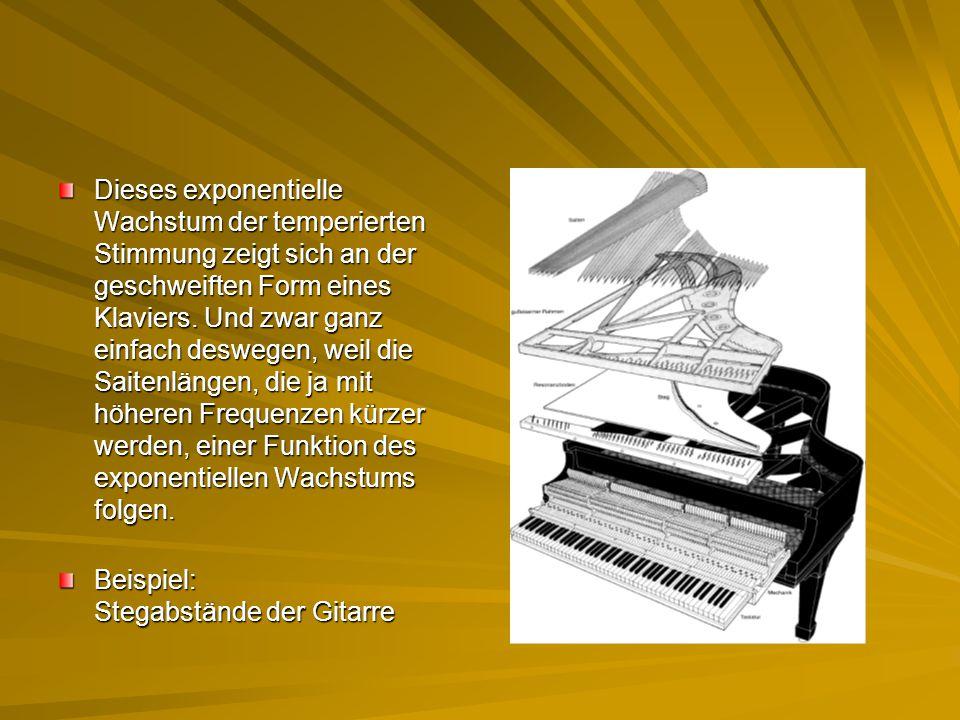 Dieses exponentielle Wachstum der temperierten Stimmung zeigt sich an der geschweiften Form eines Klaviers. Und zwar ganz einfach deswegen, weil die S
