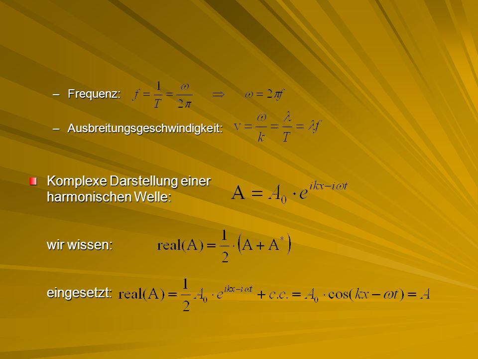 –Frequenz: –Ausbreitungsgeschwindigkeit: Komplexe Darstellung einer harmonischen Welle: wir wissen: eingesetzt: