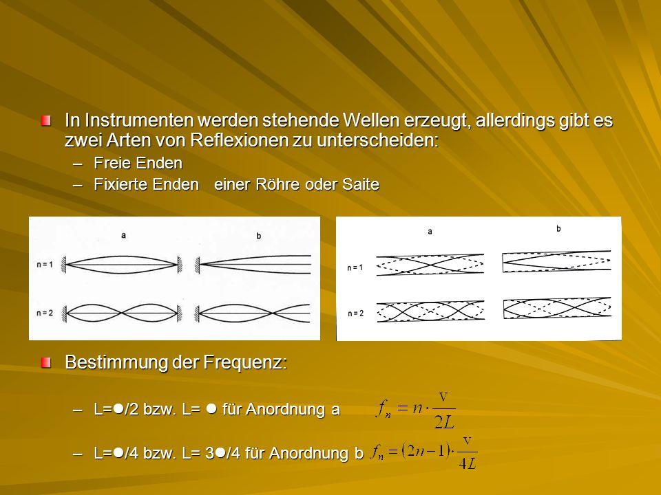 In Instrumenten werden stehende Wellen erzeugt, allerdings gibt es zwei Arten von Reflexionen zu unterscheiden: –Freie Enden –Fixierte Enden einer Röh
