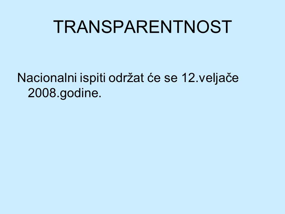TRANSPARENTNOST Nacionalni ispiti održat će se 12.veljače 2008.godine.