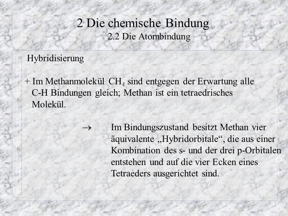 2 Die chemische Bindung 2.2 Die Atombindung Hybridisierung + Im Methanmolekül CH 4 sind entgegen der Erwartung alle C-H Bindungen gleich; Methan ist e