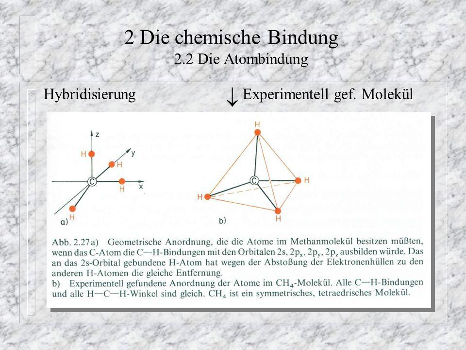 2 Die chemische Bindung 2.2 Die Atombindung Hybridisierung  Experimentell gef. Molekül