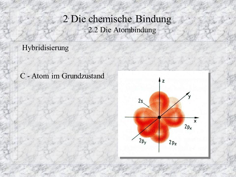 2 Die chemische Bindung 2.2 Die Atombindung Hybridisierung C - Atom im Grundzustand