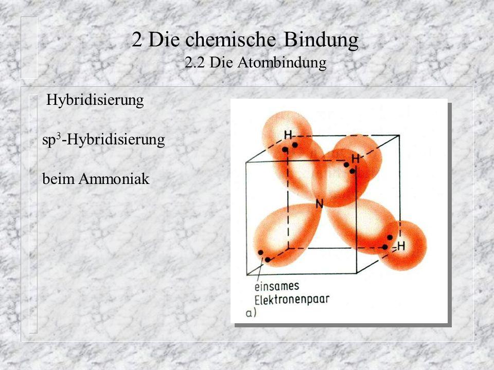 2 Die chemische Bindung 2.2 Die Atombindung Hybridisierung sp 3 -Hybridisierung beim Ammoniak