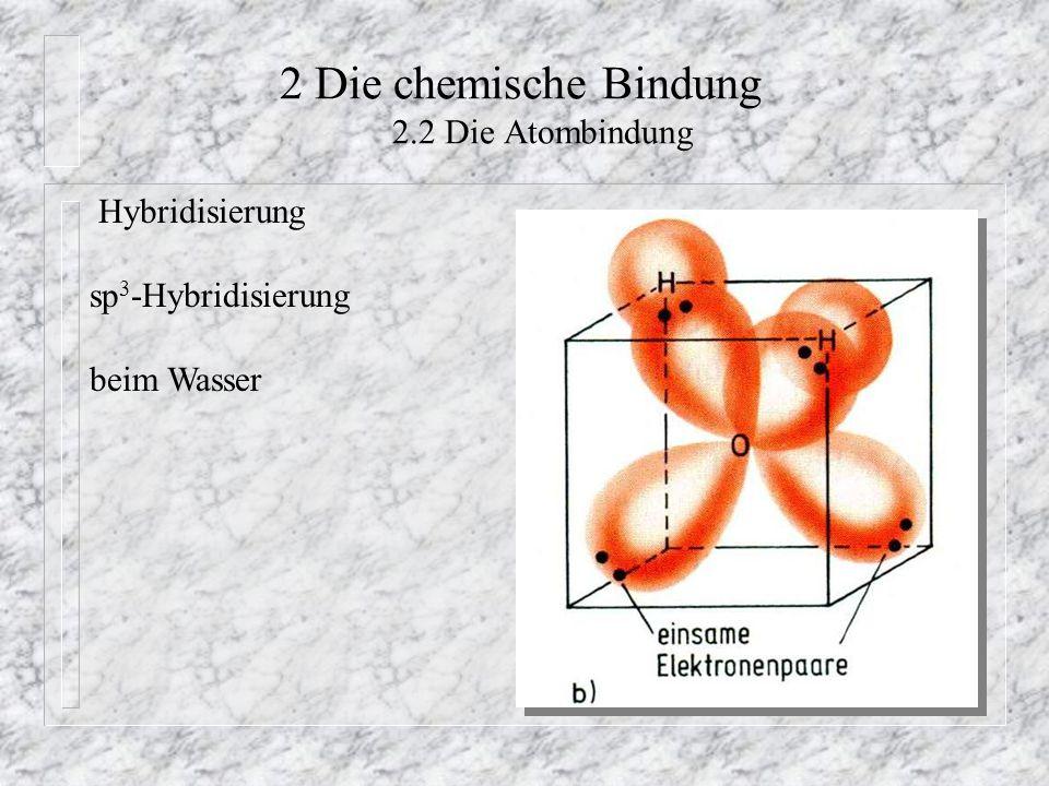 2 Die chemische Bindung 2.2 Die Atombindung Hybridisierung sp 3 -Hybridisierung beim Wasser