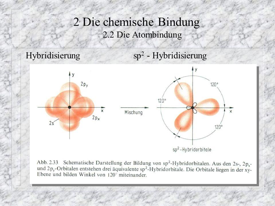 2 Die chemische Bindung 2.2 Die Atombindung Hybridisierungsp 2 - Hybridisierung